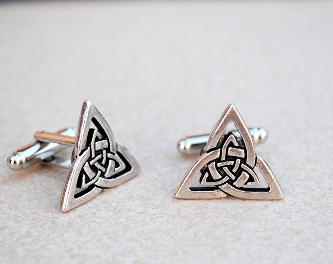 Cufflinks Trinity knot Celtic Triangle Triquerta antique silver finish men's jewelry wedding accessories