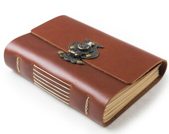Leather Journal Diary with Vintage Flower Vase Lock A6 Blank Lined Craft Paper Handmade Red Brown Gift