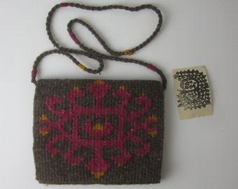 Vintage Hand Woven Wool Bohemian Shoulder Bag - Original Design - Made in Greece - Brown Fuschia Orange - Boho Cross Body - Lined Accessory
