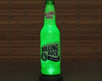 Rolling Rock 12oz Beer Bottle Accent Lamp Night Light Table Lamp Bar Man Cave Sign Glow Sparkle