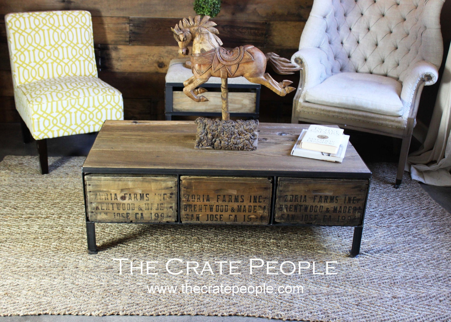 3 Zoria Crate Drawer Coffee Table Vintage Wood Crates