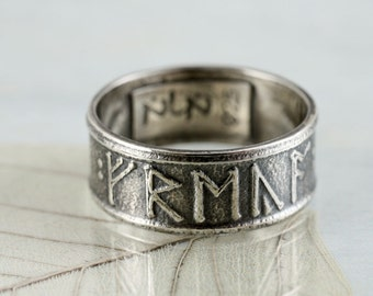 Custom Rune Ring in Sterling Silver - Anglo Saxon Futhorc