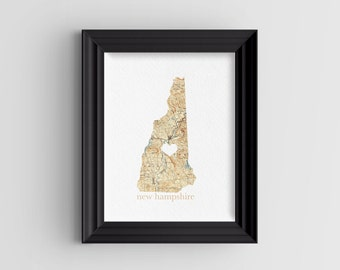 """New Hampshire State Digital Art Print - INSTANT DOWNLOAD - Vintage Map - 8"""" x 10"""" and 5"""" x 7"""""""