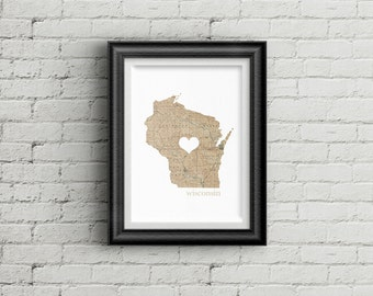 "Wisconsin State Digital Art Print - INSTANT DOWNLOAD - Vintage Map - 8"" x 10"" and 5"" x 7"""