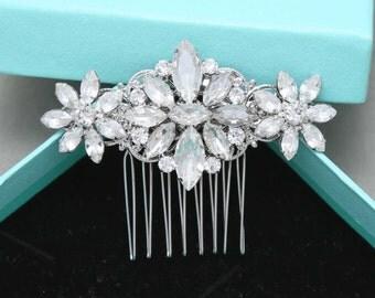 Romantic Star Vintage Style Hair Comb, Rhinestone Crystals Hair Comb, Bridal Hair Comb, Wedding Hair Comb, Alligator Clip, Barrette Clip