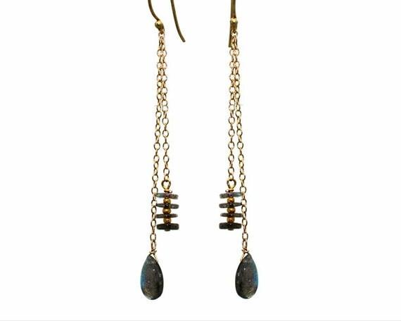 Labradorite Double Drop Earrings. Gemstone Dangle Earrings. Labradorite Jewelry. E-1785