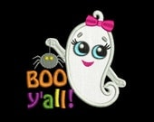 Boo y'all! Halloween Applique Machine Embroidery Design HA010