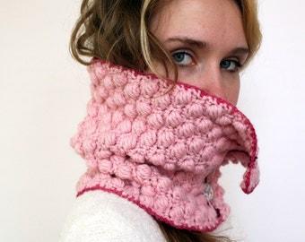 Pink Panther - Button-Down Cowl Neckwarmer Handmade Crochet from Pink Alpaca and Peruvian Highland Wool with Handmade Buttons