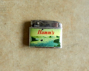 50's HAMM'S CIGARETTE LIGHTER - Malco / Promotional / Mid Century / Collectible / Classic Beer / Rare / Gift for Him
