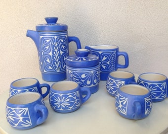 Vintage Pablo Zabal of Chile pottery expresso demitasse set 6 cups 2 pitchers sugar bowl blue white