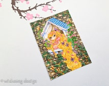 Rapunzel aceo art card, trading card, artists card, fairytale painting, fine art print, collectible card, 2.5 x 3.5 inch print