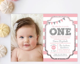 Pink and Silver invitation, 1st Birthday Invitation, Girl Birthday Invitation, Silver Glitter Invitation , Printable invite, Kids birthday
