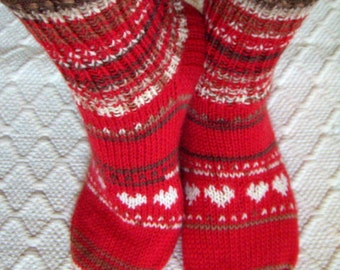 Winter night -Hand knit wool/ boot socks Womens girls Cosy boot socks Red white brown Winter Warm Christmas Gift idea Handmade in FINLAND