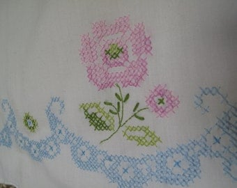 Cross Stitch Pillow Case, Floral, Blue, Pink, Green, Rose, Cotton, Scalloped Edge, Percale, White Pillow Case