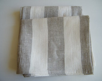 100% Natural Linen Bath sheet/ towel bathroom Gray with offwhite Stripe Linens, Leinen, Lin