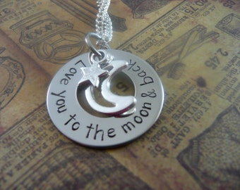 Love you to the moon & back necklace, washer, hand stamped