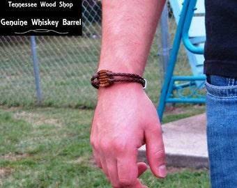 Little Whiskey Barrel Wood and Leather Bracelet Mens Leather Bracelet Handmade