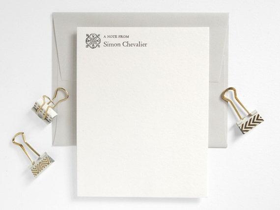 Custom Letterpress Stationery Set - Flat Notes - Classic Meets Modern - Pale Gray Folio