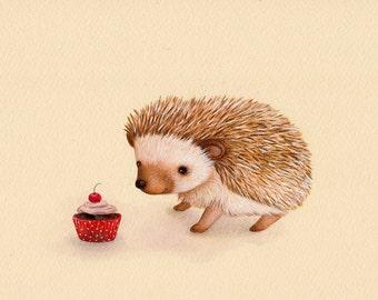 ORIGINAL ART Hedgehog and Cherry Cupcake