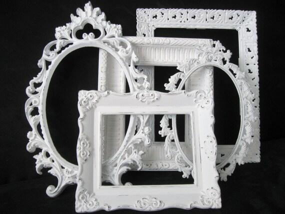 Bilderrahmen Verzieren Ornamente ~ Fünf weiße Shabby Chic Bilderrahmen ~ Jahrgang verzieren Picture