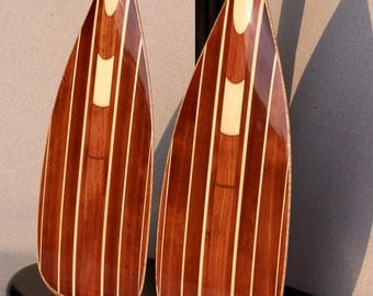 "Wooden Canoe Paddles, Matched Pair of ""Red Beauty"" 5 Degree S-Blades, (display stand NOT included)"