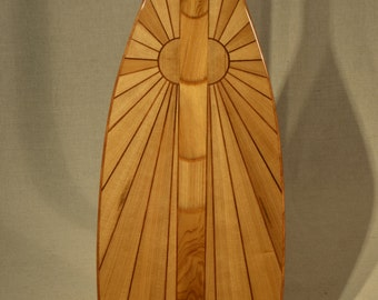 "Wooden Canoe Paddle, 5 Degree S-Blade, ""Ancient Sun"", Ancient Cypress Edition"