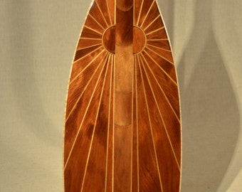 "Wooden Canoe Paddle, 5 Degree S-Blade, ""Ancient Sun"", Ancient Kauri Edition"
