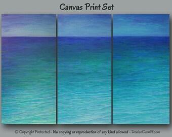 Teal beach decor, Large Seascape painting - canvas PRINT set, Coastal decor, Seashore, Ocean artwork, Green Blue Bedroom decor, Living room