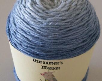 Bambaroo - Gradient hand-dyed blue bamboo, wool and nylon yarn  - Denim
