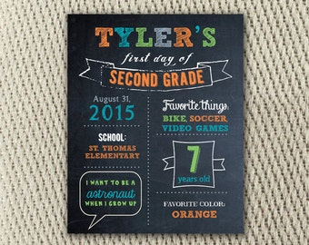 Sporty Blue and Orange First Day of School Chalkboard Sign: 8x10 Digital File