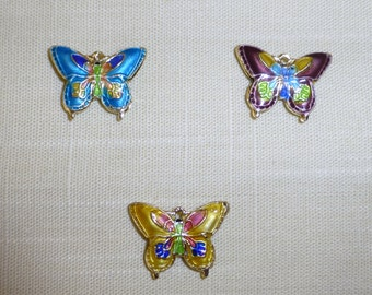 Cloisonne Butterfly Beads - Pendants - Charms- 16mm x 20mm - Pack of  3