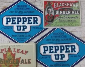 Antique Labels, Soda Labels, Authentic, Ephemera, 4 Labels, Soda Fountain, Supplies, Props, Scrapbooking
