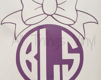 Monogram Initials Decal Personalized Vinyl Sticker with bow