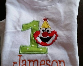 Personalized Sesame Street Elmo 1 One year old Birthday Shirt Applique