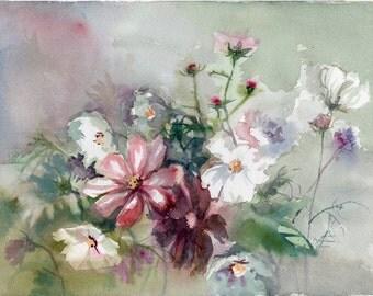 Flowers Painting, original watercolor painting, Garden Flowers, Garden Cosmos, Mexican Aster (Cosmos bipinnatus)