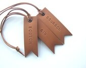 Set of 3 Decanter Tags, Hand Stamped Leather Tags, Gift for Her, Gift for Him, Handmade in UK