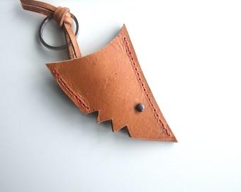 Shark Leather  Keyring, Key Fob,  Leather Gift, Handmade in UK,  Gift Under 20 USD