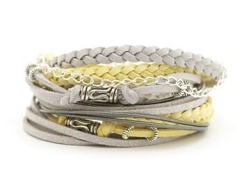 Gray Silver Boho Wrap Bracelet, Yellow Gray Women Bracelet, Bohemian Jewelry, Hippie Style Bracelet, gift for her, double wrap, boho chic