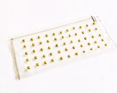 Gold Studded Clear Clutch, purse, upcycled vinyl, transparent