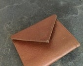 Vintage Womens Wallet Leather Small Envelope 1970s