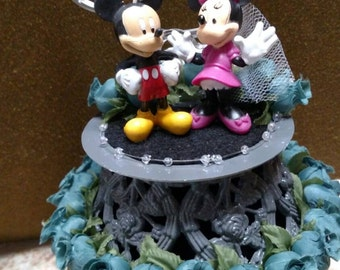 Shimmering Mickey and Minnie Wedding Cake Topper in Gray, Teal, and White.