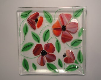 Fused Glass Floral Square Plate - BHS03360