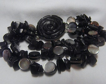 Black Beauty Bracelet.Onyx and Mother Of Pearl