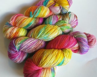 Pinata on Nub 100% SW Merino Hand dyed fingering weight sock yarn