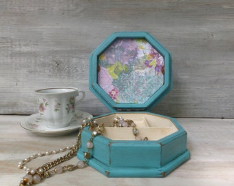 Small Upcycled Jewelry Box Painted Turquoise