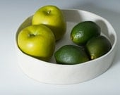"""8.75"""" Medium Matte White Stoneware Platter, Straight Sided Bowl / Pottery Handmade Ceramic Serving Tray Cheese plate - ready to ship"""