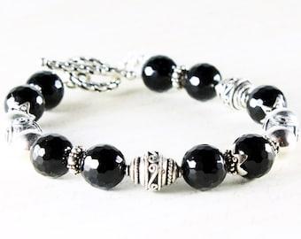 Black Onyx bracelet, Sterling Silver, black gemstone, fine statement bracelet, toggle clasp, two hearts charm, gift for her, BR2719