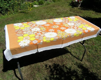 Vintage Cotton Tablecloth, Retro 1970 Floral Rectangular Tablecloth, Orange Yellow White Floral Printed Tablecloth, Mid Cenutry Table Linens