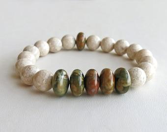 Rhyolite jasper and riverstone stacking bracelet