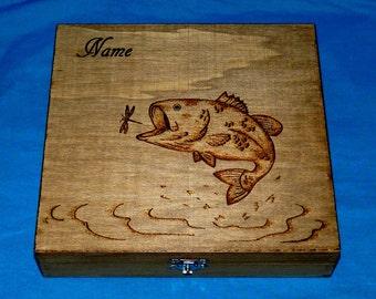 Wood Burned Cigar Box- Personalized Gift Box- Best Man- Groomsman- Custom Fly Fishing Box- Rustic Wedding Keepsake Box Engraved